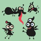 Illustrazione felice dei mostri Insieme 10 Fotografia Stock