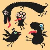 Illustrazione felice dei mostri Insieme 1 Immagini Stock Libere da Diritti