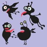 Illustrazione felice dei mostri Insieme 6 Fotografia Stock