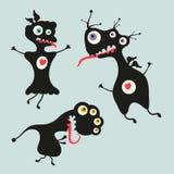 Illustrazione felice dei mostri Insieme 13 Immagini Stock