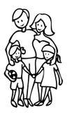 Illustrazione felice del profilo della famiglia Immagini Stock Libere da Diritti