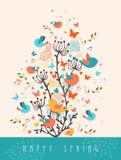 Illustrazione felice della cartolina d'auguri della primavera Fotografia Stock Libera da Diritti