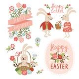 Illustrazione felice delle carte di pasqua Fotografia Stock