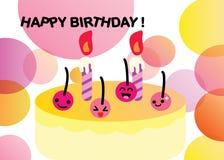 Illustrazione felice di compleanno della ciliegia illustrazione di stock