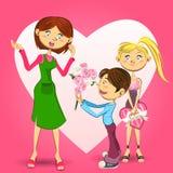 Illustrazione felice di festa della Mamma Fotografia Stock