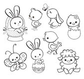 Illustrazione felice di festa di Pasqua con il pollo sveglio, coniglietto, anatra, agnello Fotografie Stock Libere da Diritti