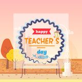 Illustrazione felice di giorno degli insegnanti e di vettore dell'autunno Fotografie Stock Libere da Diritti