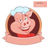 Illustrazione felice di Head Cartoon Vector del cuoco unico del maiale Logo On un fondo bianco Fotografia Stock Libera da Diritti