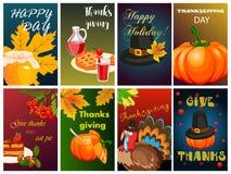 Illustrazione felice di vettore dell'opuscolo di festa di stagione del raccolto di saluto di autunno del fumetto di progettazione Immagine Stock Libera da Diritti