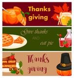 Illustrazione felice di vettore dell'opuscolo di festa di stagione del raccolto di saluto di autunno del fumetto di progettazione Fotografia Stock Libera da Diritti