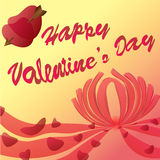 Illustrazione felice di vettore della carta di giorno di biglietti di S. Valentino Immagine Stock