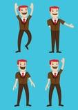 Illustrazione felice di vettore di linguaggio del corpo del carattere dell'uomo del fumetto Immagini Stock