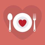 Illustrazione felice di vettore di Valentine Day del menu romantico della cena di amore della cartolina d'auguri Progettazione de Fotografia Stock Libera da Diritti