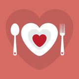 Illustrazione felice di vettore di Valentine Day del menu romantico della cena di amore della cartolina d'auguri Progettazione de Fotografia Stock