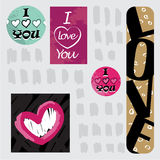 Illustrazione felice di vettore di Valentine Day della cartolina d'auguri ti amo Progettazione del modello Aletta di filatoio o i Fotografia Stock Libera da Diritti