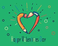 Illustrazione felice di vettore di giorno di biglietti di S. Valentino Matita e spazzola nella forma del cuore Linea stile piana Fotografia Stock Libera da Diritti
