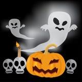Illustrazione felice di vettore di Halloween del fantasma di volo Immagini Stock