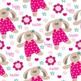 Illustrazione felice senza cuciture di vettore del fiore del coniglietto di pasqua Immagine Stock