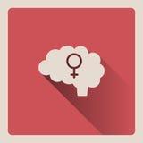 Illustrazione femminile del cervello su fondo rosso con ombra Fotografia Stock