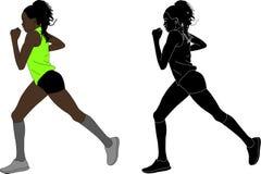 Illustrazione femminile del corridore maratona illustrazione vettoriale