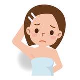 Illustrazione femminile di difficoltà dell'ascella Fotografie Stock