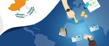 Illustrazione fiscale di concetto di commercio dei soldi di economia del Cipro del bilancio finanziario di attività bancarie con  illustrazione vettoriale