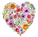 Illustrazione floreale del cuore Immagini Stock Libere da Diritti