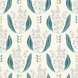Illustrazione floreale del damasco del mughetto disegnato a mano Reticolo senza giunte di vettore illustrazione di stock