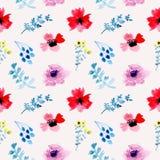 Illustrazione floreale dell'acquerello senza cuciture del modello illustrazione di stock