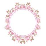Illustrazione floreale dell'annata frame Anelli di cerimonia nuziale Fotografia Stock