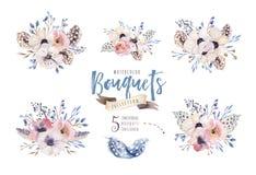 Illustrazione floreale di boho dell'acquerello Mazzi della Boemia del fiore, corone, disposizioni per nozze, anniversario, comple Fotografia Stock Libera da Diritti