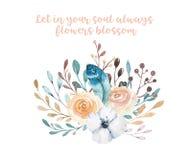 Illustrazione floreale di boho dell'acquerello Mazzi della Boemia del fiore della molla, corone, disposizioni per nozze, annivers Fotografia Stock Libera da Diritti