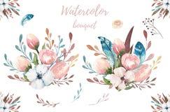 Illustrazione floreale di boho dell'acquerello Mazzi della Boemia del fiore della molla, corone, disposizioni per nozze, annivers Fotografie Stock