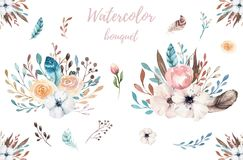 Illustrazione floreale di boho dell'acquerello Mazzi della Boemia del fiore della molla, corone, disposizioni per nozze, annivers Immagini Stock
