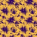 Illustrazione floreale di viola attinto un colore giallo illustrazione vettoriale