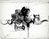 Illustrazione floreale Grungy con la palella Fotografia Stock