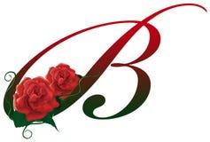 Illustrazione floreale rossa della lettera B Fotografie Stock Libere da Diritti