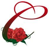 Illustrazione floreale rossa della lettera C Fotografia Stock Libera da Diritti