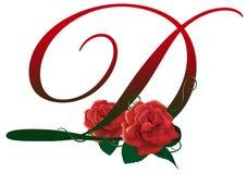 Illustrazione floreale rossa della lettera D Fotografia Stock Libera da Diritti