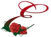Illustrazione floreale rossa della lettera E Fotografie Stock Libere da Diritti