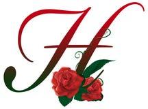 Illustrazione floreale rossa della lettera H Fotografie Stock