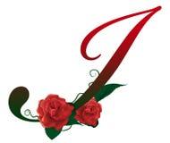 Illustrazione floreale rossa della lettera I Immagini Stock Libere da Diritti
