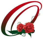 Illustrazione floreale rossa della lettera O Immagine Stock
