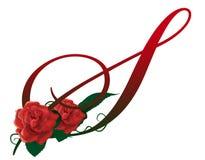 Illustrazione floreale rossa della lettera S Immagini Stock Libere da Diritti