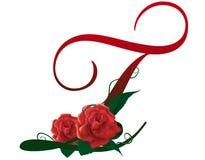 Illustrazione floreale rossa della lettera T Fotografia Stock