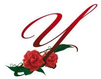 Illustrazione floreale rossa della lettera Y Immagine Stock