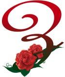 Illustrazione floreale rossa della lettera Z Fotografia Stock Libera da Diritti