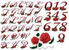 Illustrazione floreale rossa stabilita di numero e delle lettere Immagini Stock