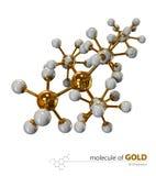 Illustrazione, fondo bianco isolato molecola dell'oro illustrazione di stock