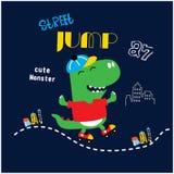 Illustrazione fresca divertente di vettore del dinosauro del pattinatore del rullo illustrazione di stock